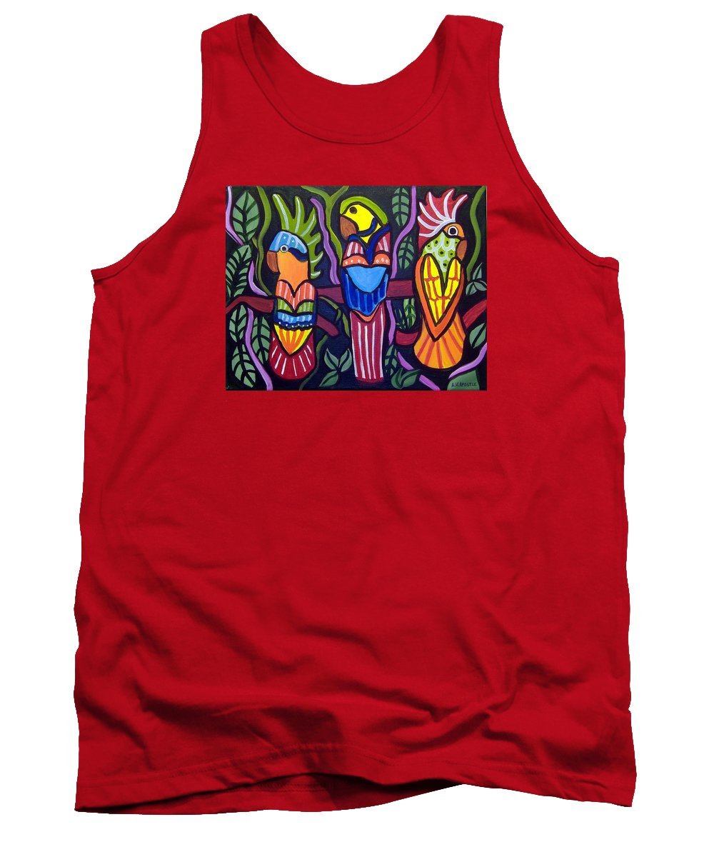 Tropical Tank Top featuring the painting 3 Tropical Birds by Anggelyka Apostle