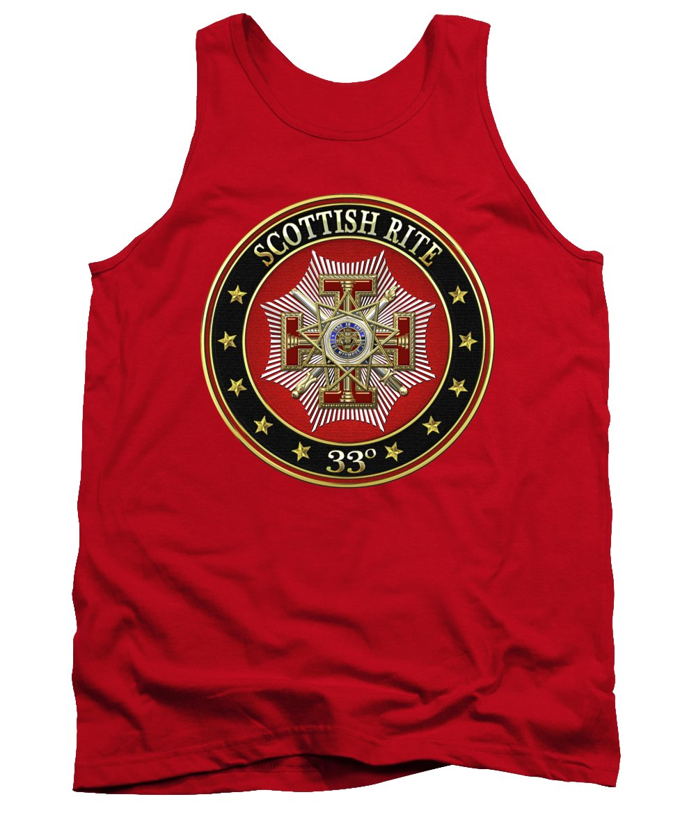 'scottish Rite' Collection By Serge Averbukh Tank Top featuring the digital art 33rd Degree - Inspector General Jewel On Red Leather by Serge Averbukh