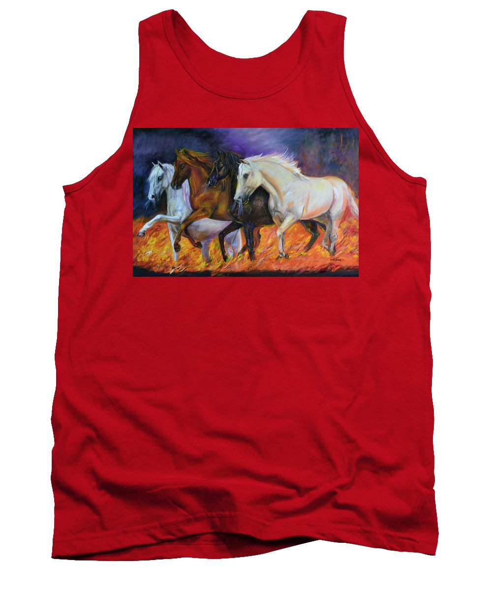 Horse Tank Top featuring the painting 4 Horses Of The Apocalypse by Olga Kaczmar