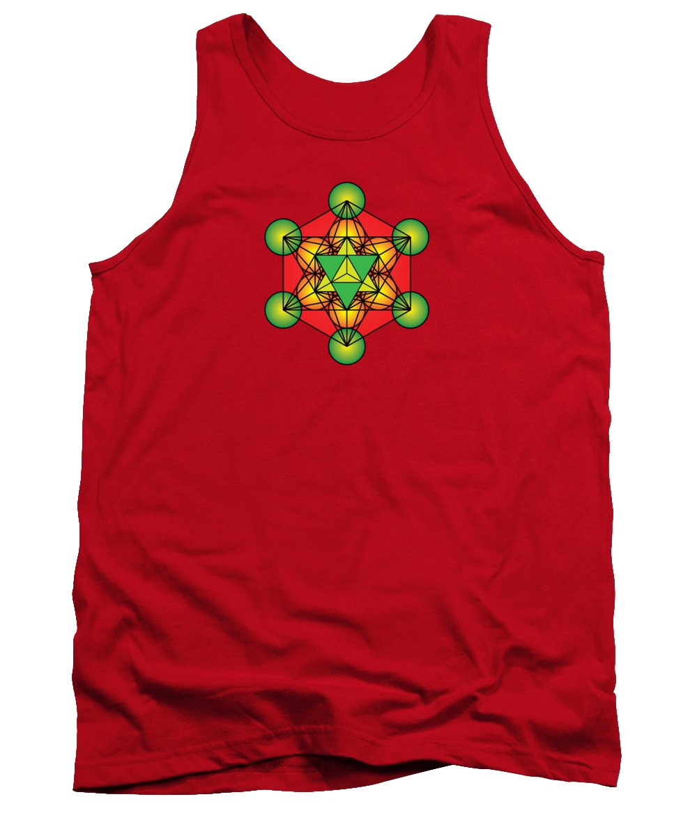Metatron's Cube Tank Top featuring the digital art Metatron's Cube With Merkaba by Galactic Mantra