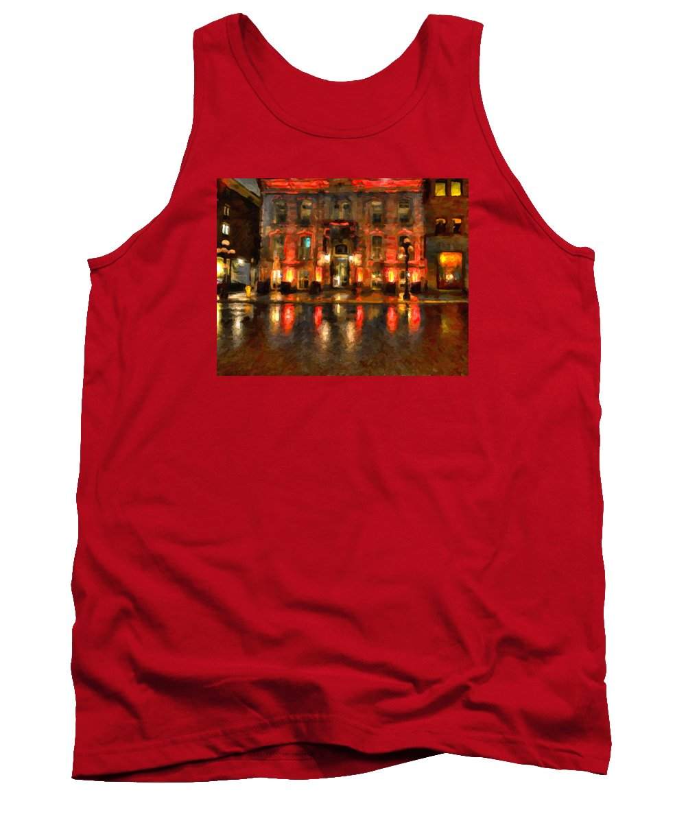 Market Tank Top featuring the painting Street Reflections by Andre Faubert