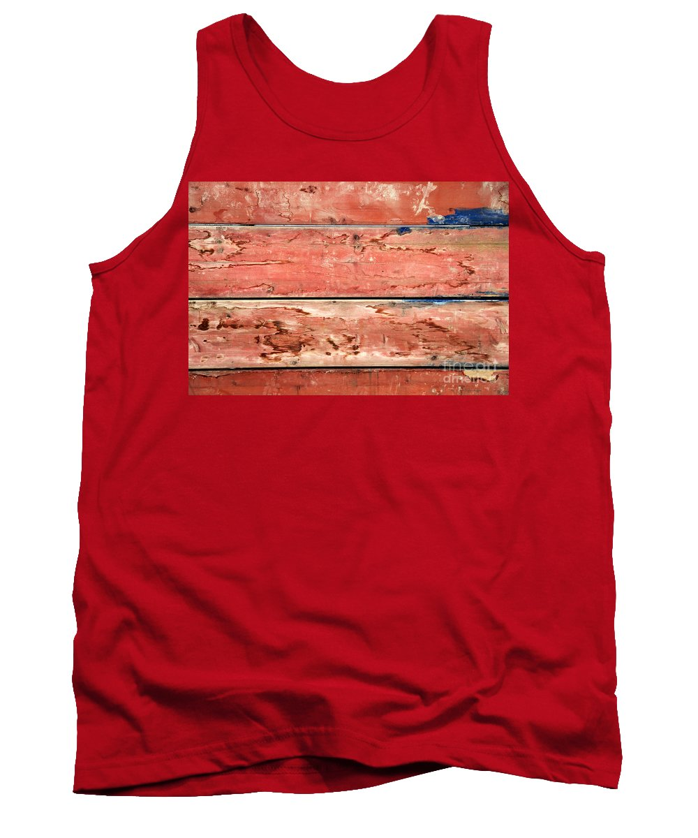 Retro Styled Tank Top featuring the photograph Wood Background With Faded Red Paint by Vladi Alon