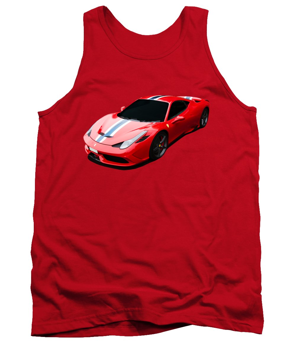 Ferrari Tank Top featuring the digital art 458 Speciale by Roger Lighterness