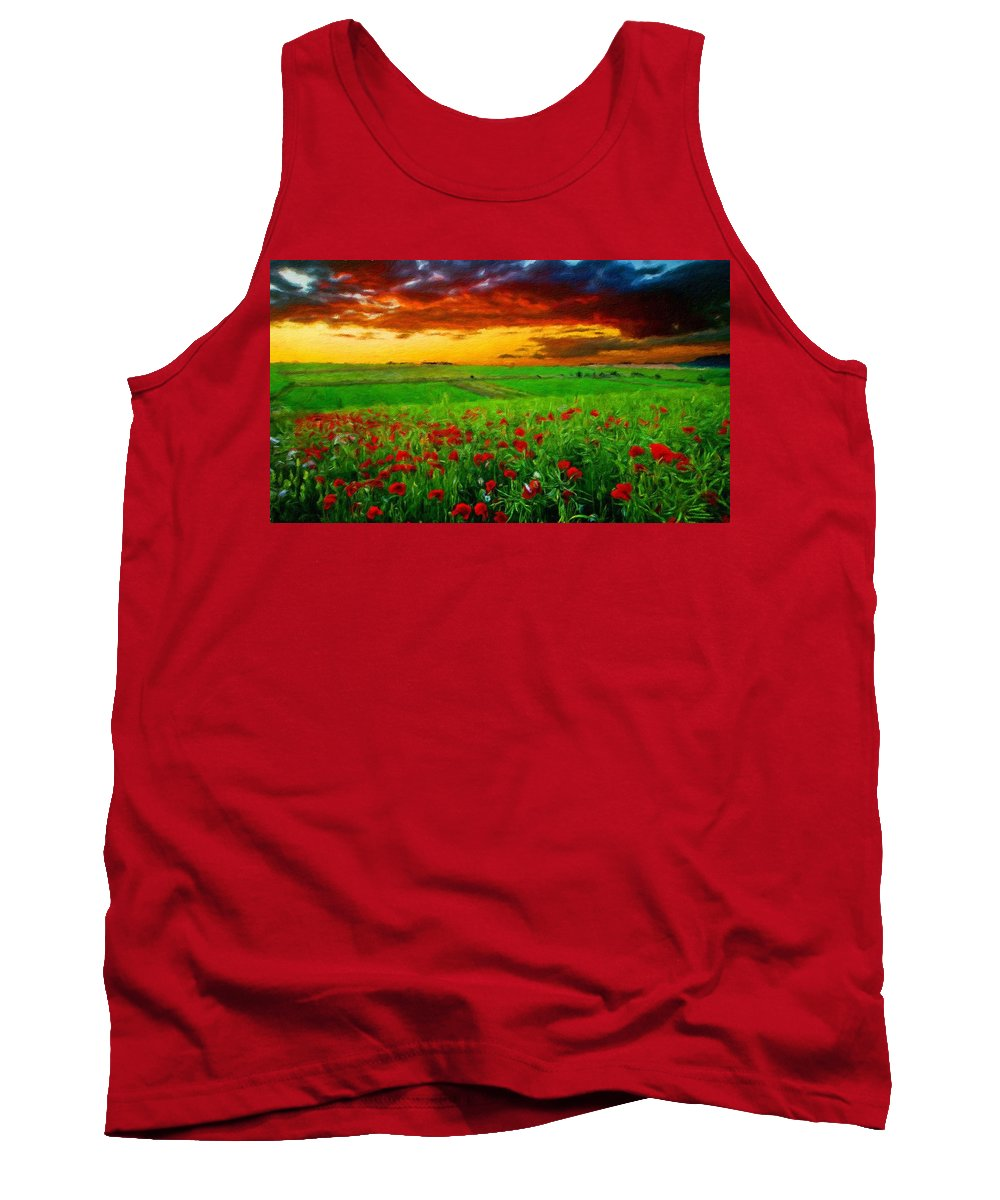 Landscape Tank Top featuring the painting Nature Landscape Wall Art by World Map