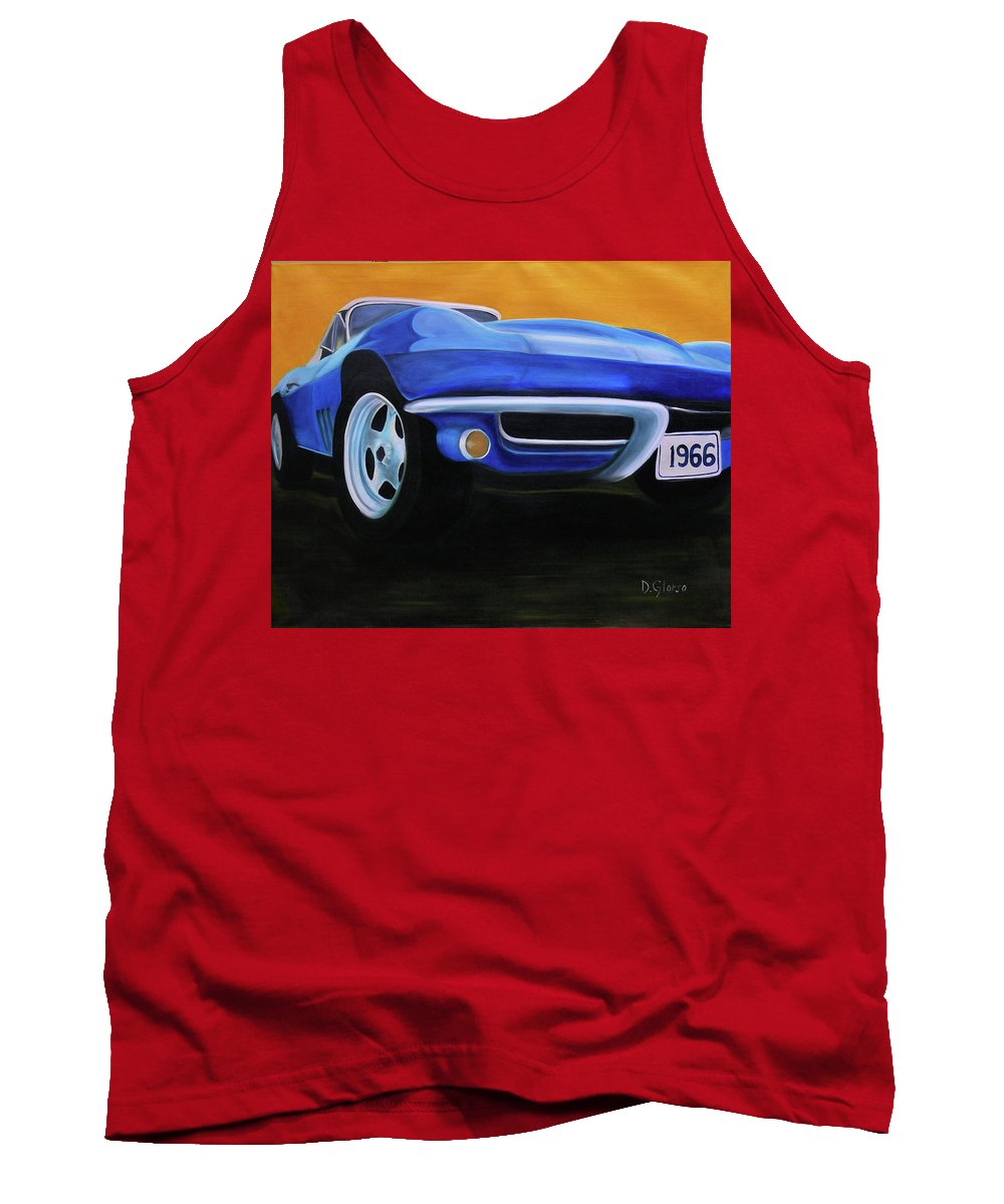 #corvette Tank Top featuring the painting 66 Corvette - Blue by Dean Glorso