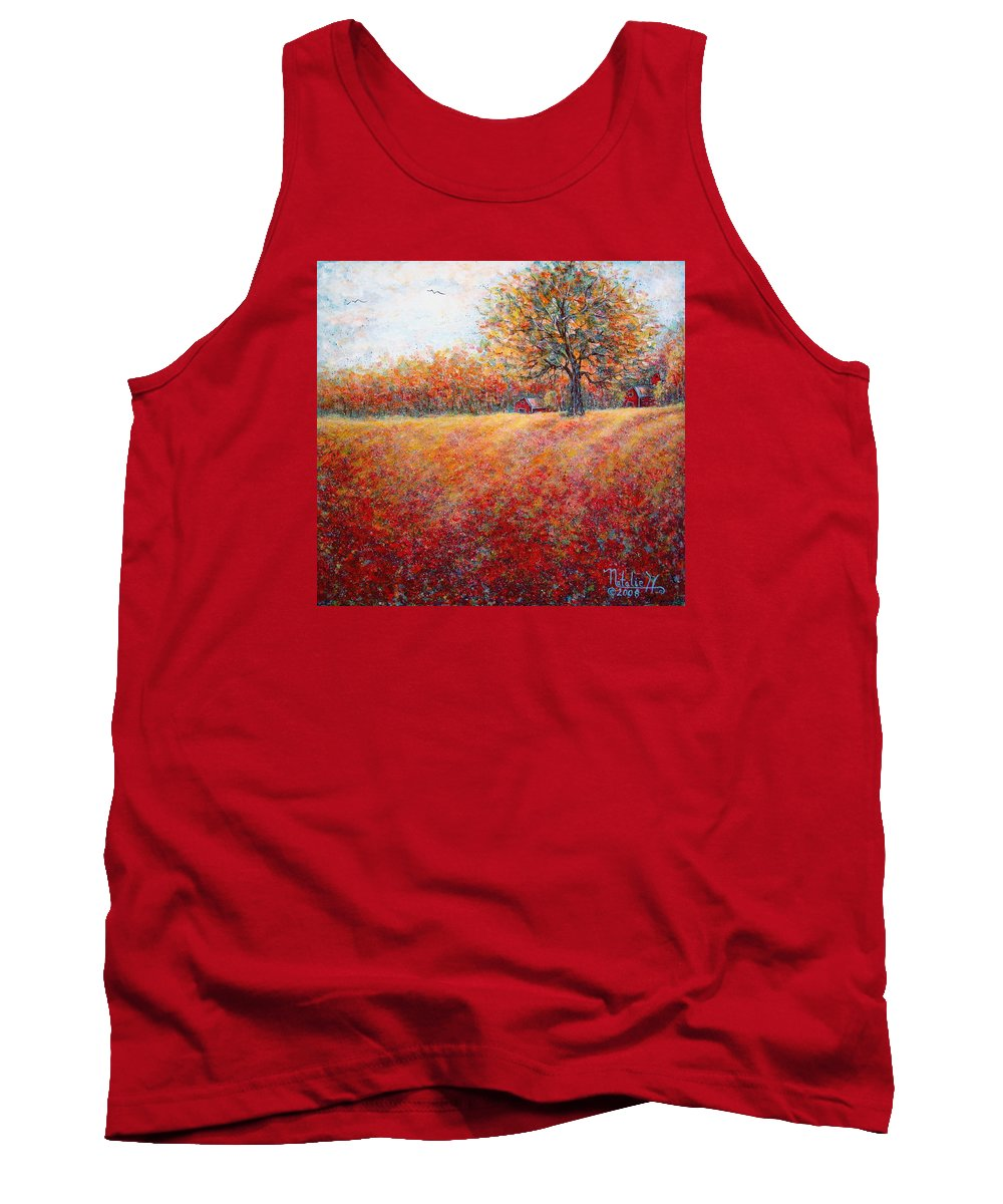 Autumn Landscape Tank Top featuring the painting A Beautiful Autumn Day by Natalie Holland