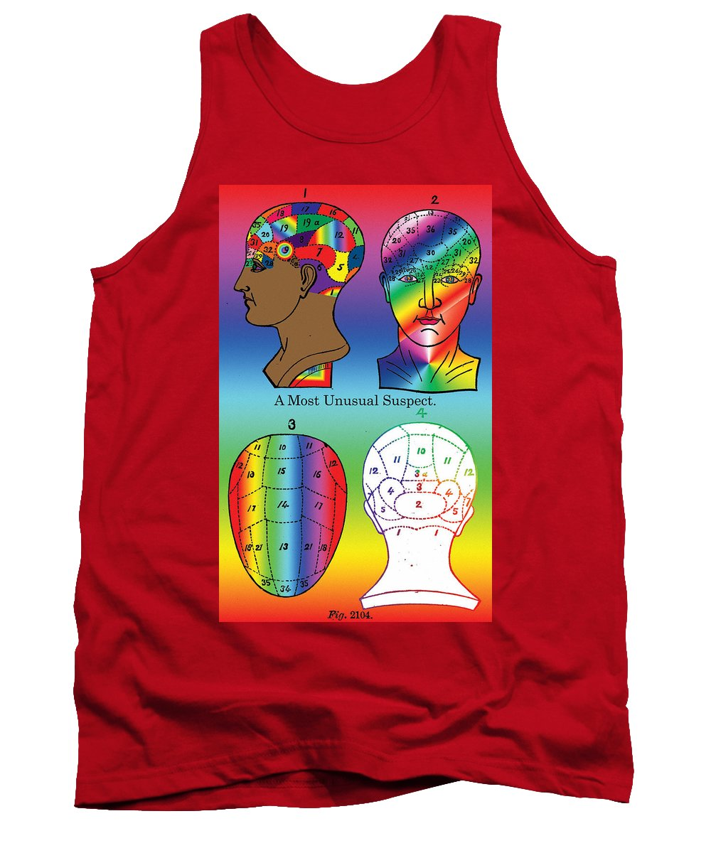 Head Tank Top featuring the digital art A Most Unusual Suspect by Eric Edelman