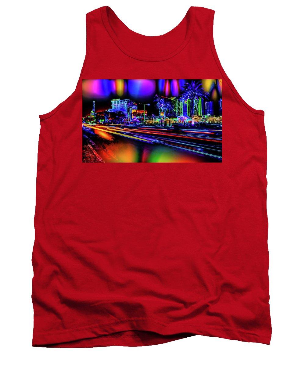 World's Tank Top featuring the digital art A Parallel Las Vegas by Ron Fleishman