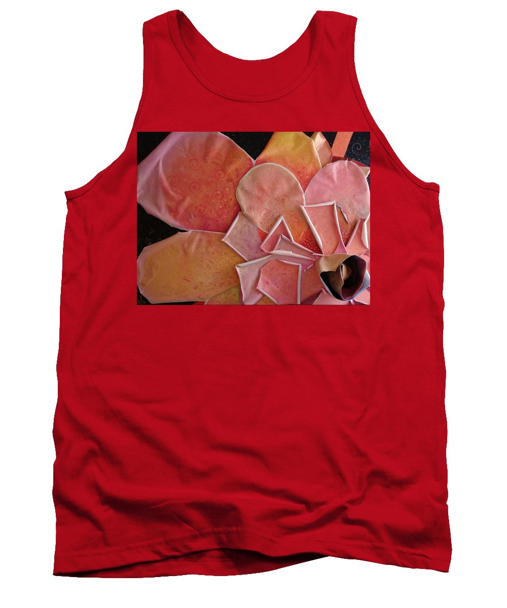 Sculptural Tank Top featuring the painting A Pink Experience by Helena Tiainen