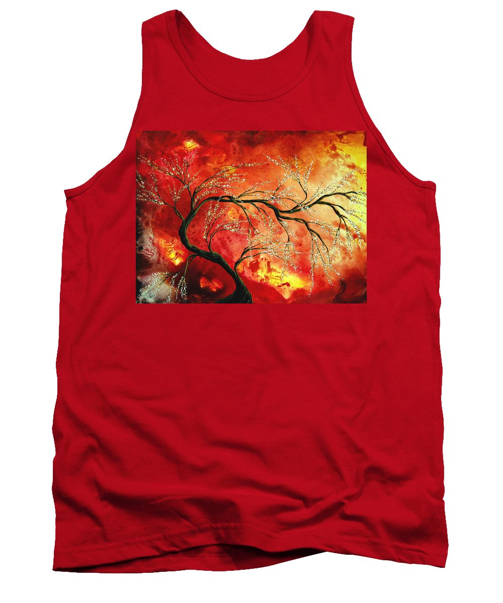 Abstract Tank Top featuring the painting Abstract Art Floral Tree Landscape Painting Fresh Blossoms By Madart by Megan Duncanson