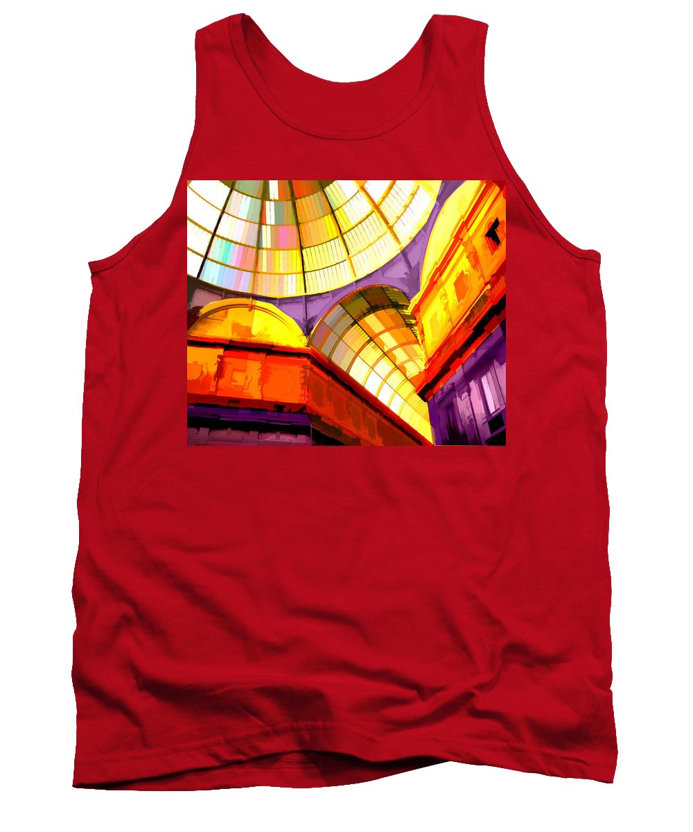 Cathedral Tank Top featuring the painting Abstract Cathedral Color Wheel by Elaine Plesser