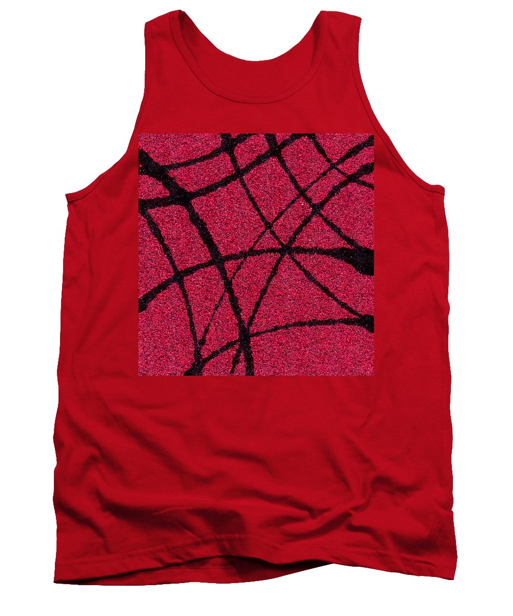 Abstract Tank Top featuring the painting Abstract In Red And Black by Wayne Potrafka