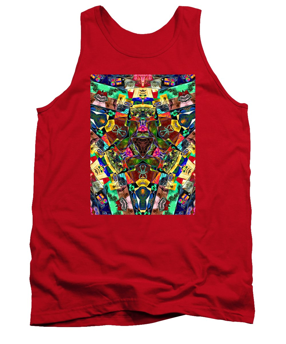 Mandala Tank Top featuring the digital art Abstract Of Abundant Colors by Phil Perkins