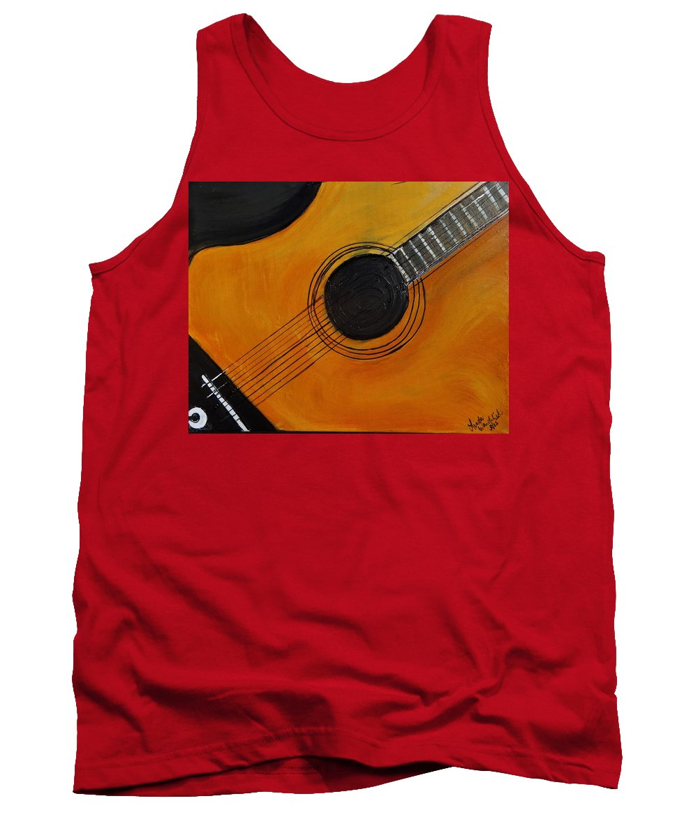 #acoustic Guitar Painting Tank Top featuring the painting Acoustic Guitar by Linda Waidelich