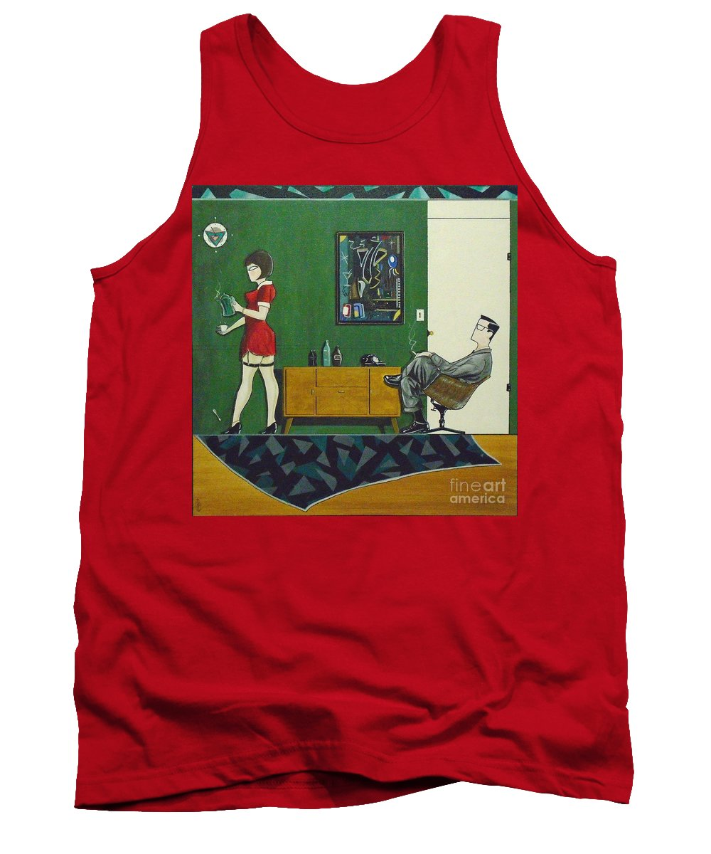 John Lyes Tank Top featuring the painting Ad Man Sitting In Chair Steadily Watching Coffee Girl by John Lyes