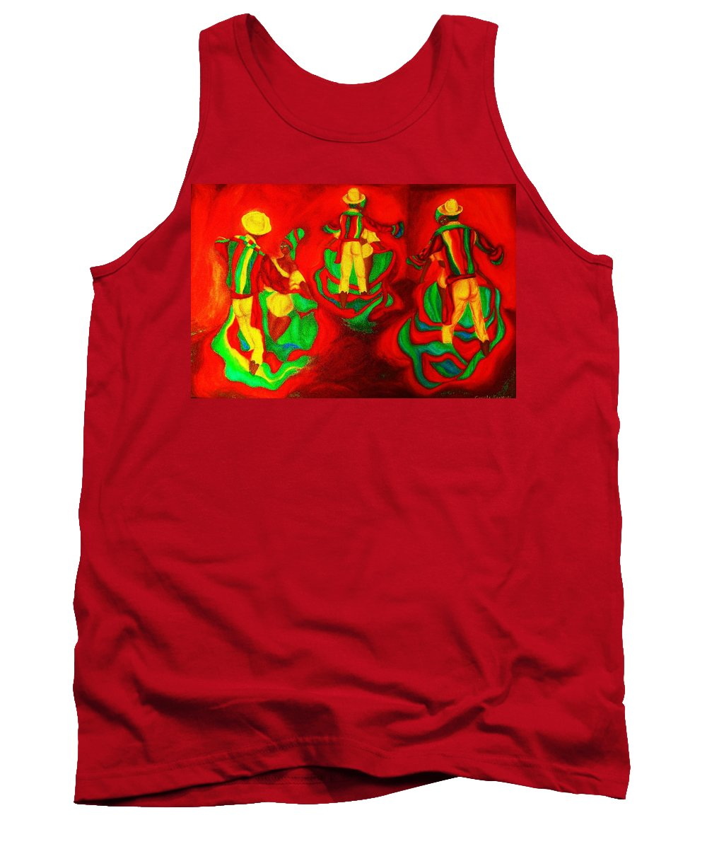 Africa Tank Top featuring the painting African Dancers by Carole Spandau