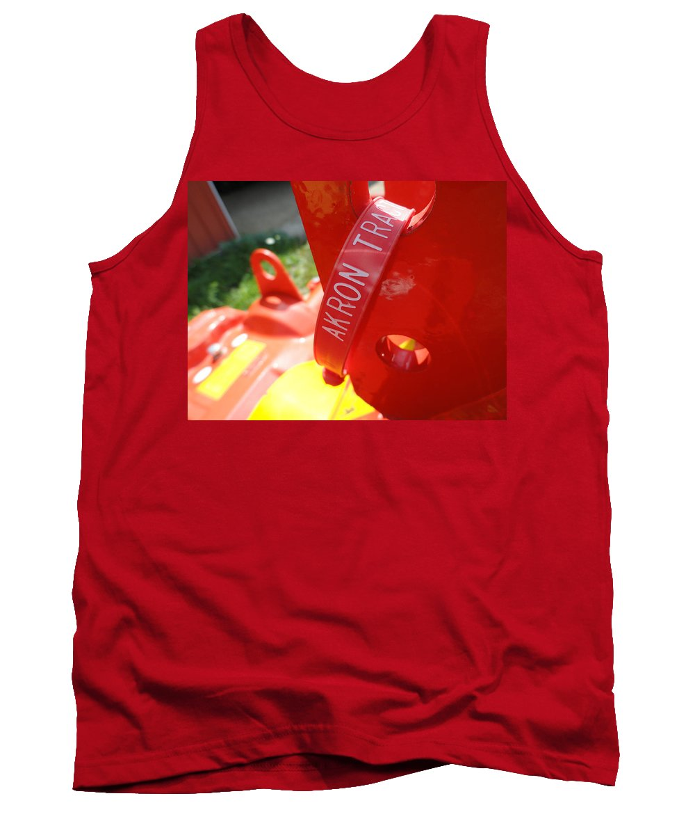 Red Tank Top featuring the photograph Akron Tractor by Trish Hale