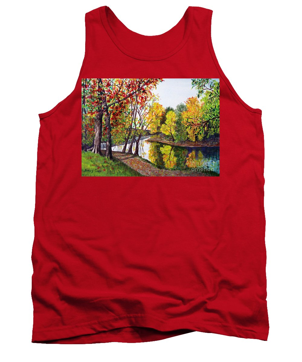 Blanchard River Tank Top featuring the painting Along The Blanchard by Nancy Cupp