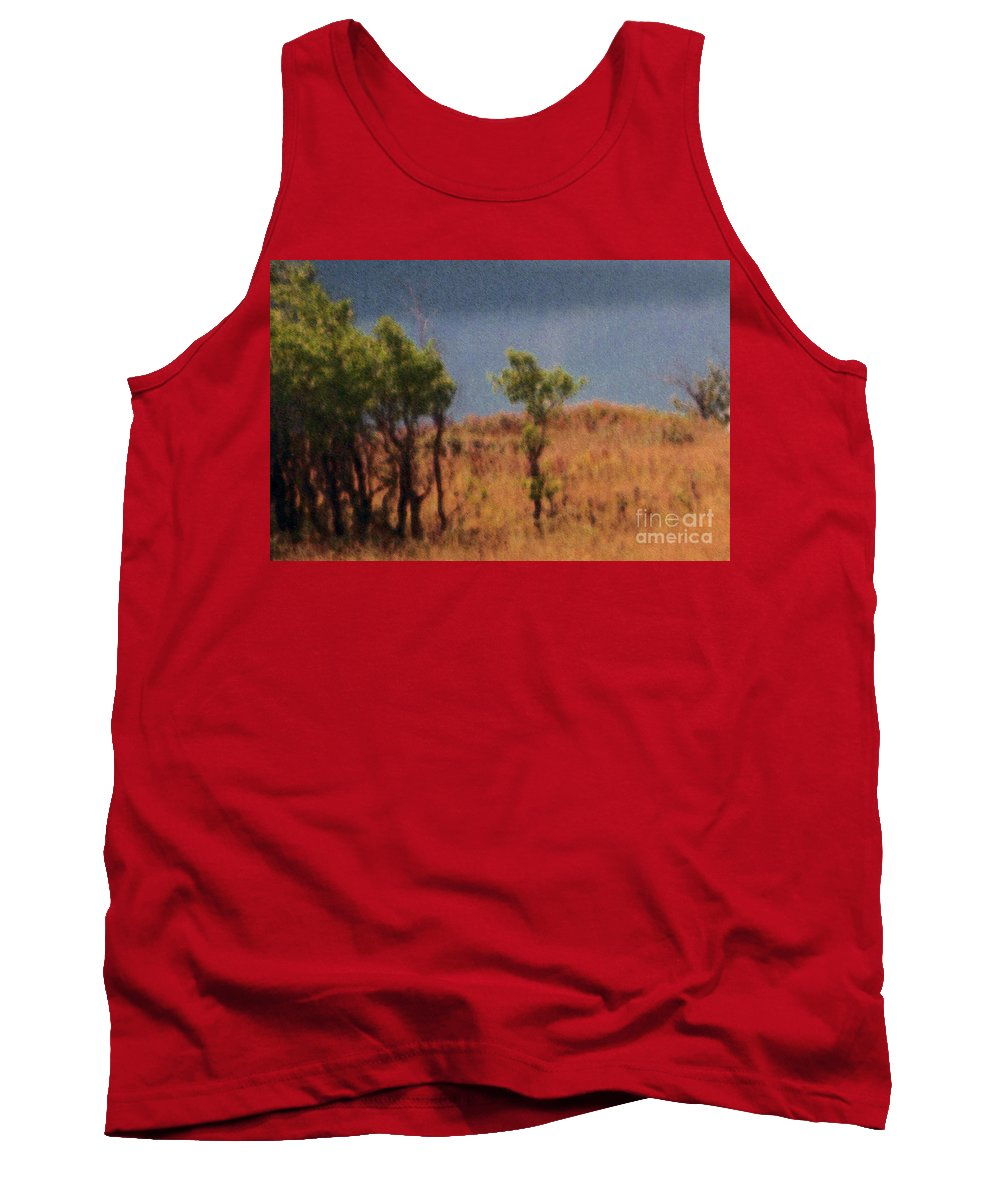 Field Tank Top featuring the digital art Along The Lake by Richard Rizzo