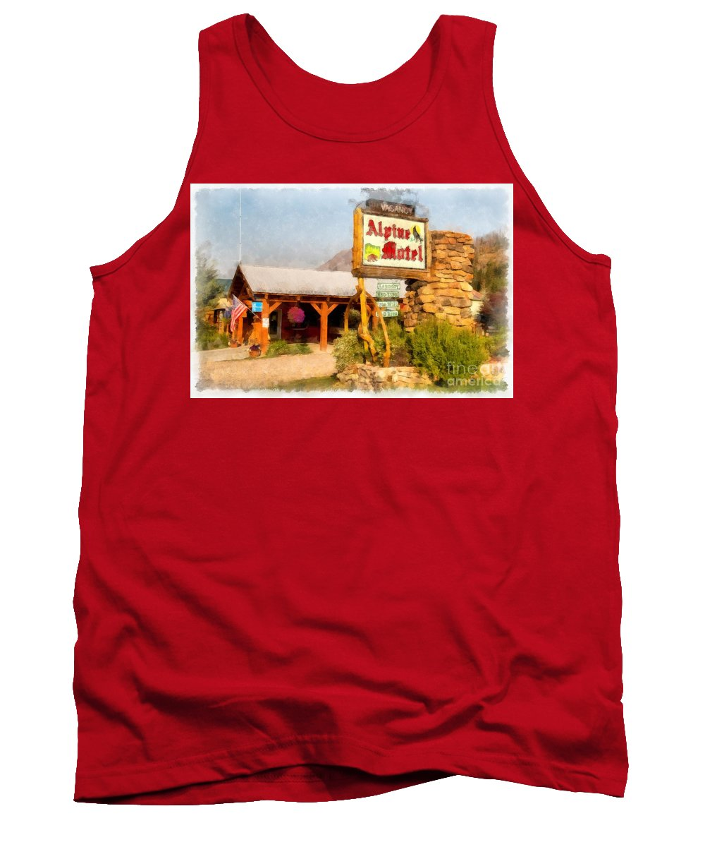 West Yellowstone Tank Top featuring the photograph Alpine Motel Vintage Roadside Oasis Yellowstone by Edward Fielding