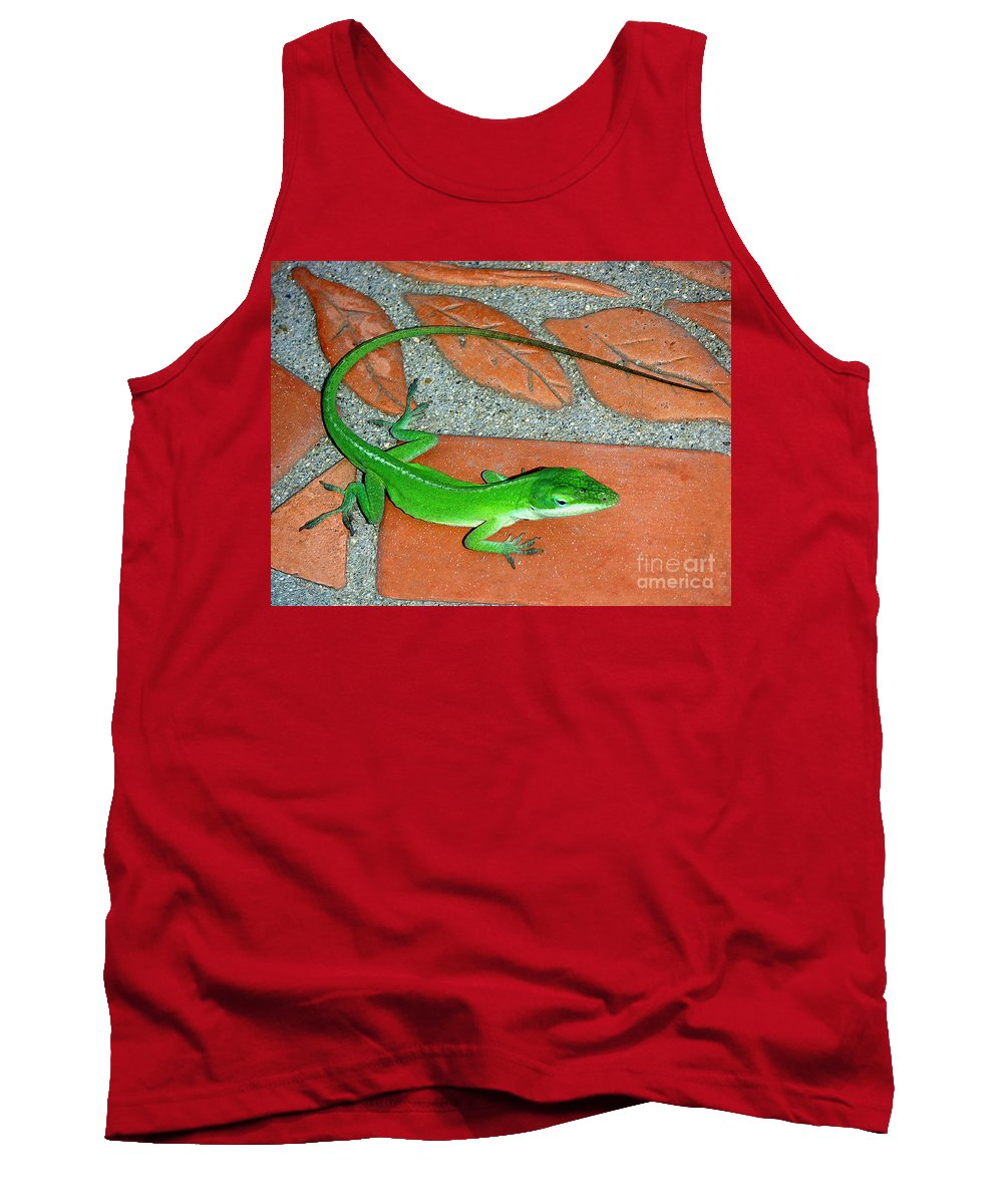 Nature Tank Top featuring the photograph Anole On Chair Tiles by Lucyna A M Green