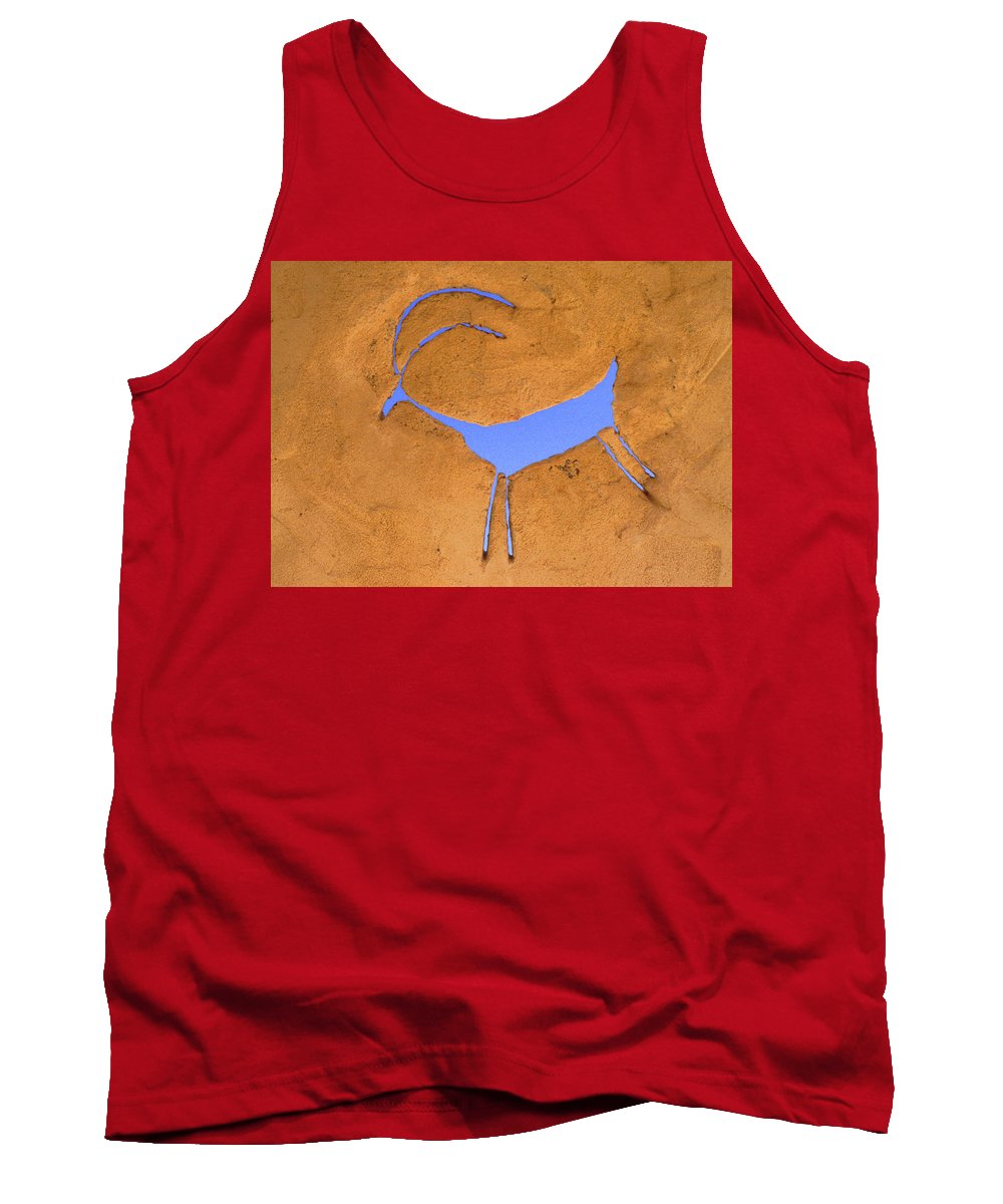 Anasazi Tank Top featuring the photograph Antelope Petroglyph by Jerry McElroy