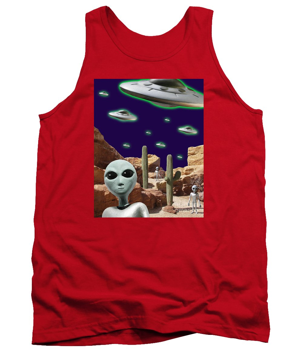 Area 51 Tank Top featuring the digital art Area 51 by Keith Dillon