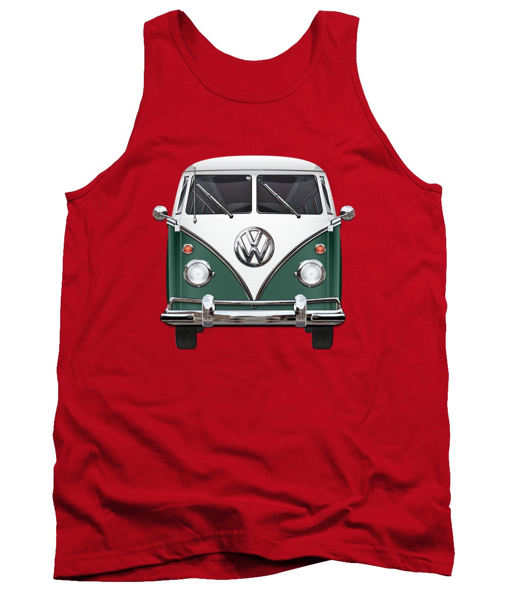 'volkswagen Type 2' Collection By Serge Averbukh Tank Top featuring the photograph Volkswagen Type 2 - Green And White Volkswagen T 1 Samba Bus Over Red Canvas by Serge Averbukh