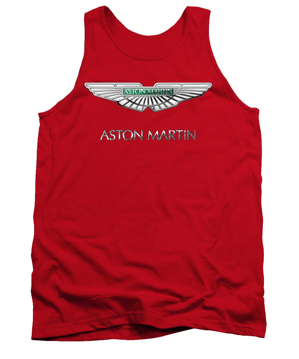 Wheels Of Fortune� Collection By Serge Averbukh Tank Top featuring the photograph Aston Martin - 3 D Badge on Red by Serge Averbukh