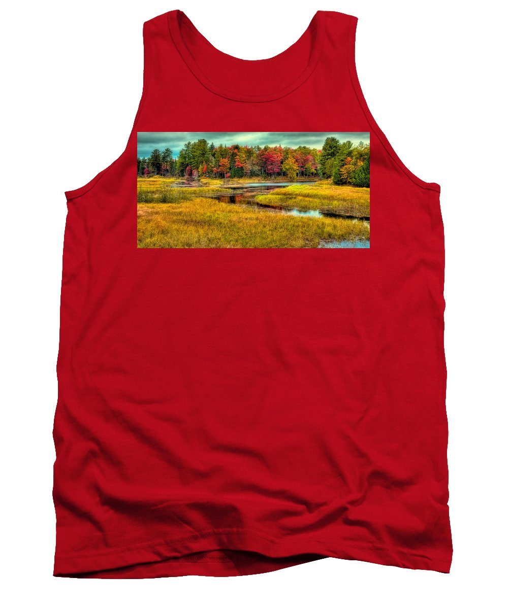 Autumn Along The River Tank Top featuring the photograph Autumn Along The River by David Patterson