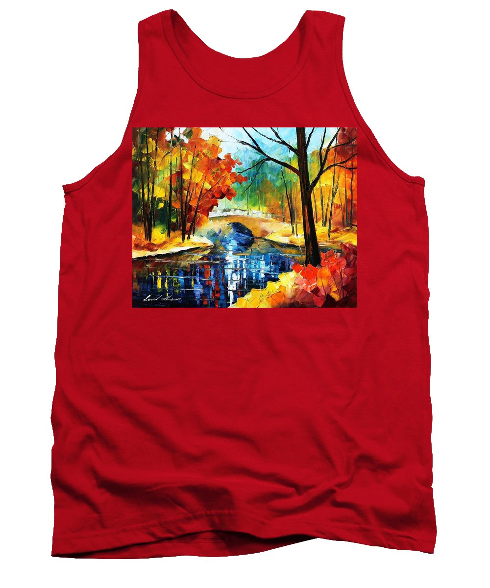 Art Gallery Tank Top featuring the painting Autumn Calm 2 - Palette Knife Oil Painting On Canvas By Leonid Afremov by Leonid Afremov