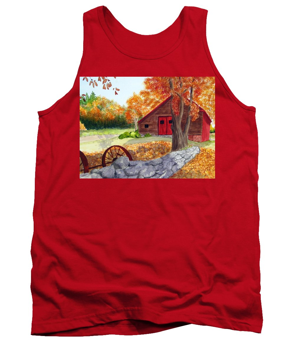Barn Tank Top featuring the painting Autumn Day by Julia RIETZ