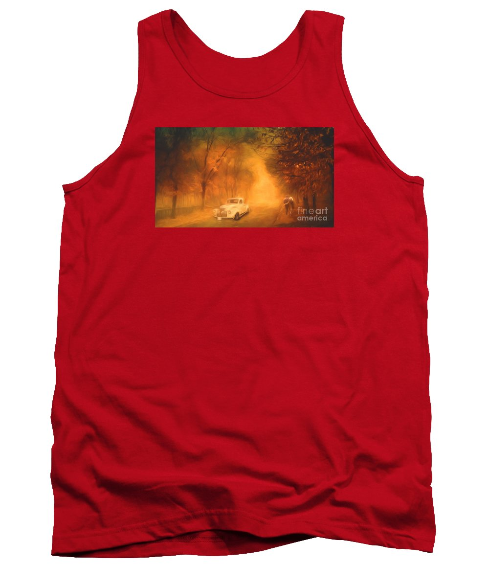 Autumn Tank Top featuring the painting Autumn Evening by Jim Hatch