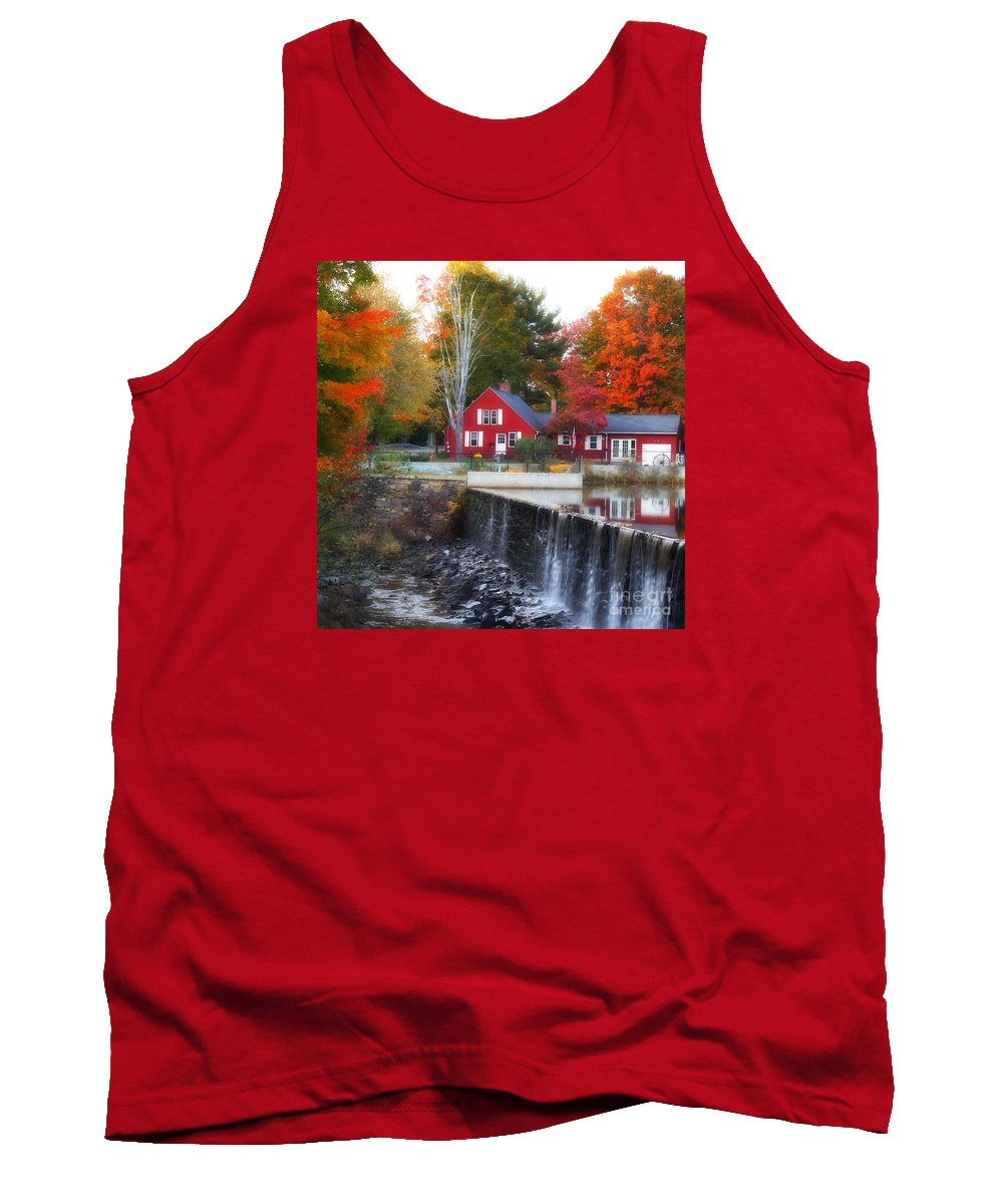 New England Tank Top featuring the photograph Autumn House At The Falls by Marcel J Goetz Sr