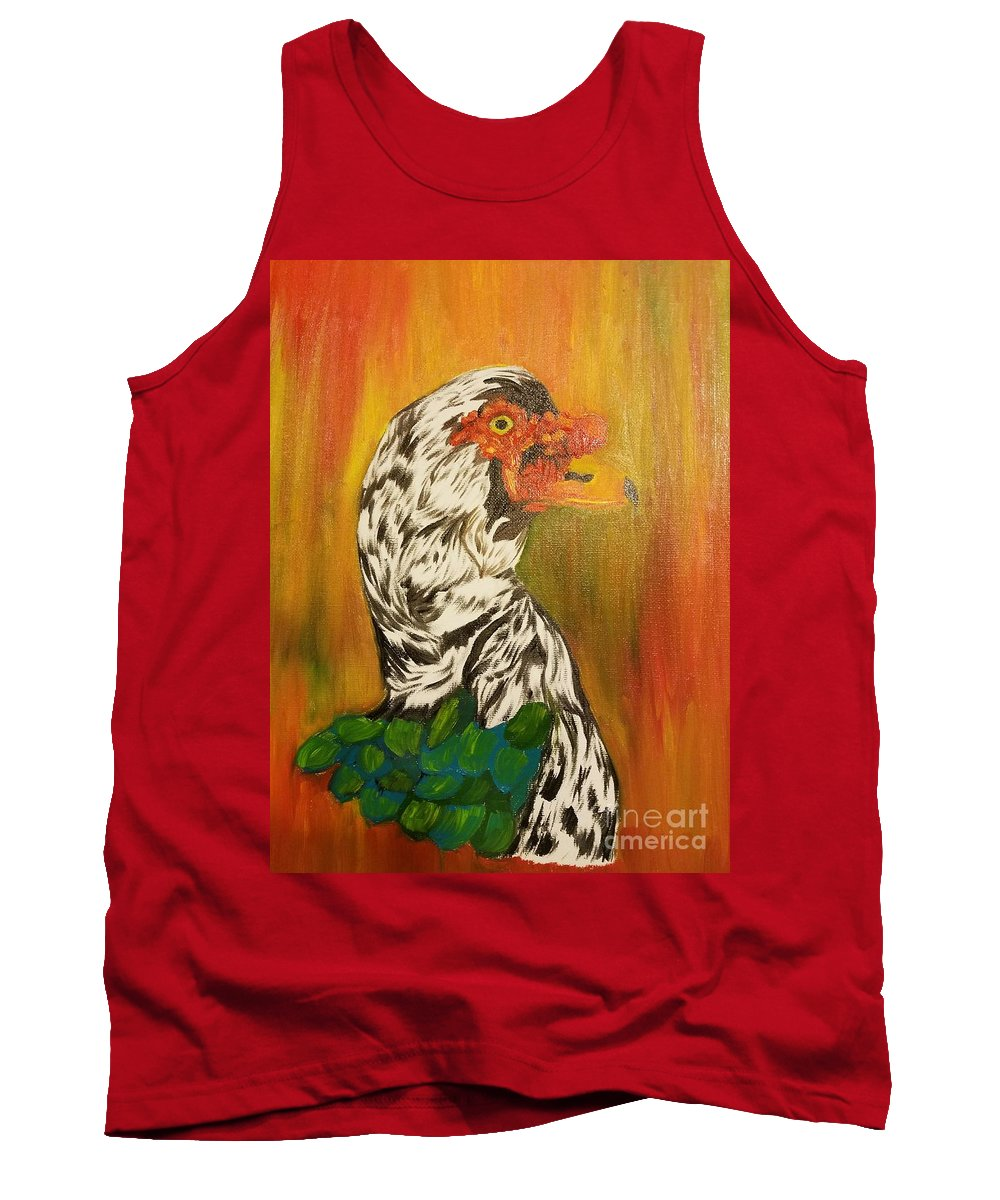 Autumn Muscovy Portrait Tank Top featuring the painting Autumn Muscovy Portrait by Maria Urso