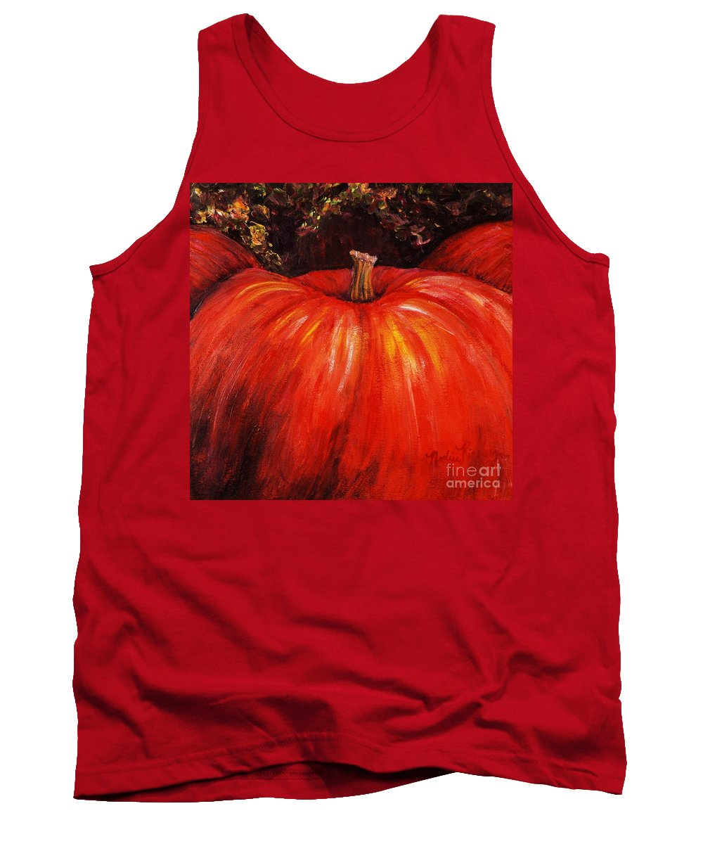 Orange Tank Top featuring the painting Autumn Pumpkins by Nadine Rippelmeyer