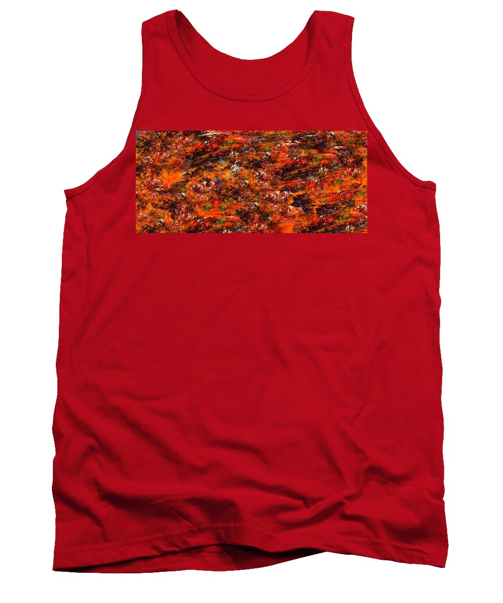 Abstract Digital Painting Tank Top featuring the digital art Autumn Riot by David Lane