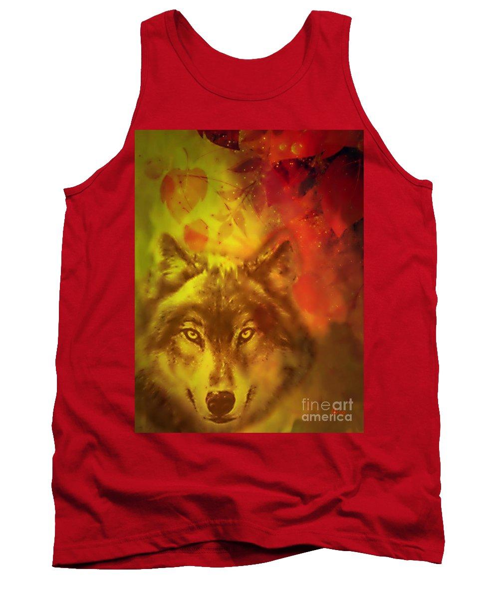 Autumn Wolf Tank Top featuring the digital art Autumn Wolf by Maria Urso
