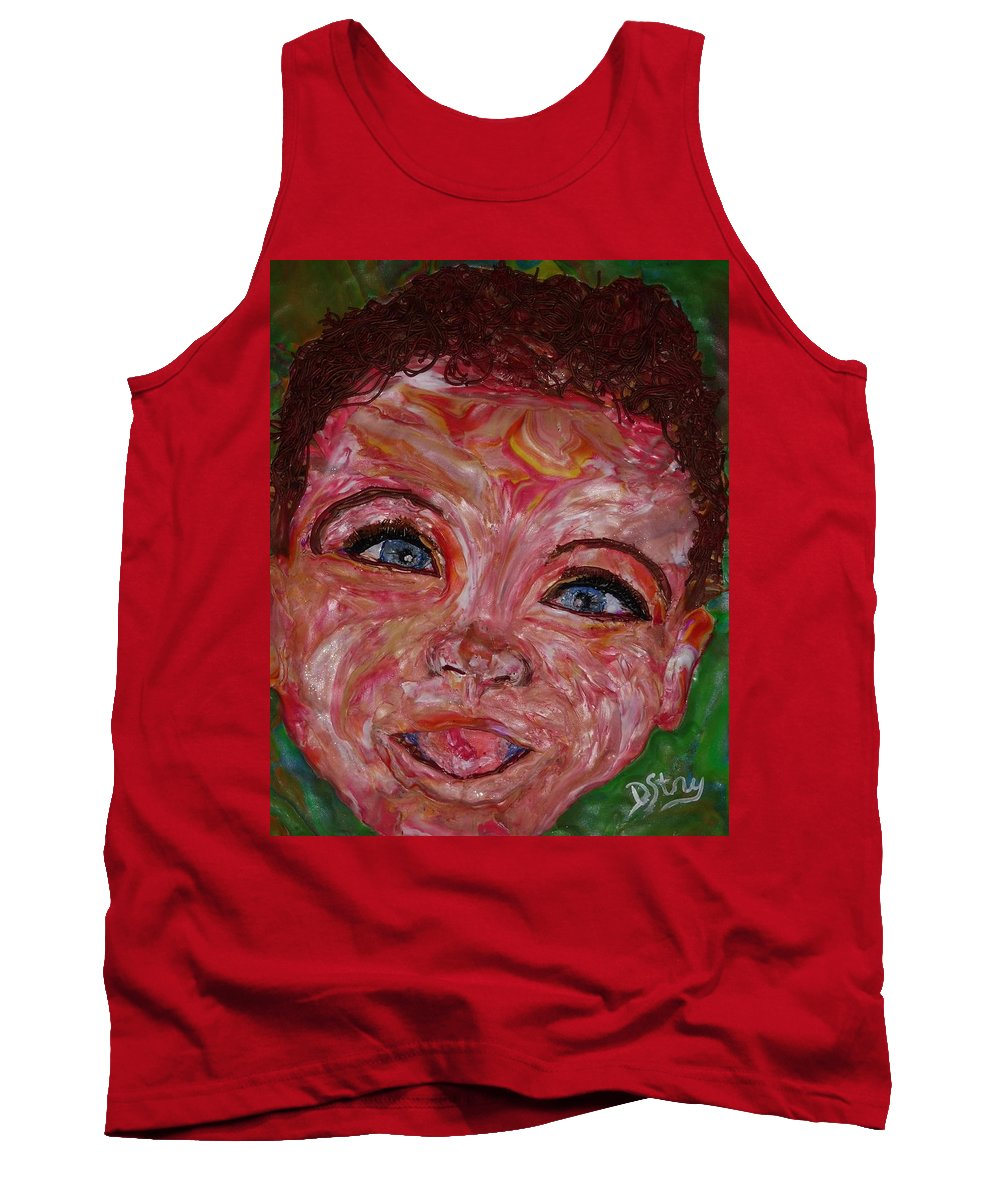 Polymer Clay Tank Top featuring the mixed media Azuriah by Deborah Stanley