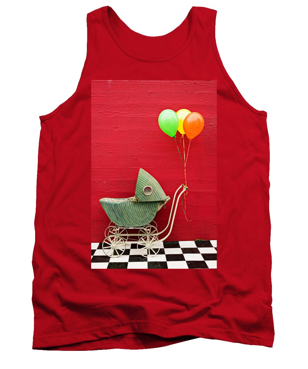 Baby Buggy Tank Top featuring the photograph Baby Buggy With Red Wall by Garry Gay