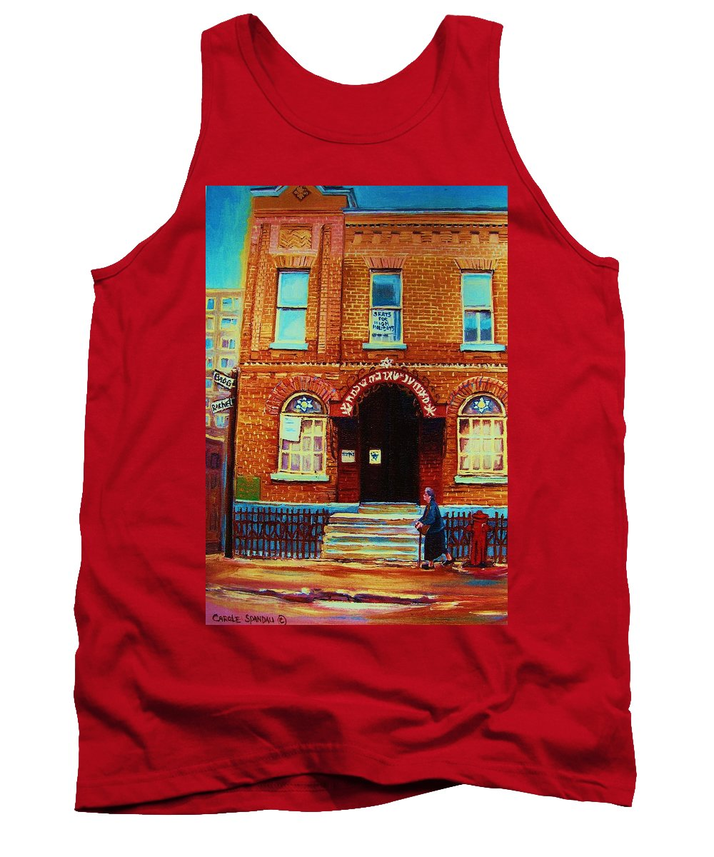 Judaica Tank Top featuring the painting Bagg Street Synagogue by Carole Spandau