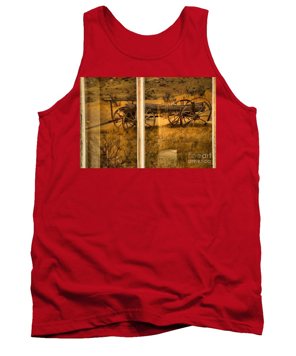 Bannack Tank Top featuring the photograph Bannack Wagon Reflections by Adam Jewell