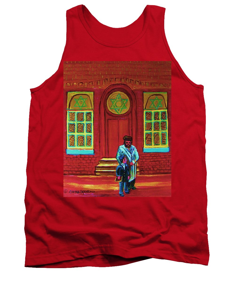 Synagogues Tank Top featuring the painting Bar Mitzvah Lesson At The Synagogue by Carole Spandau