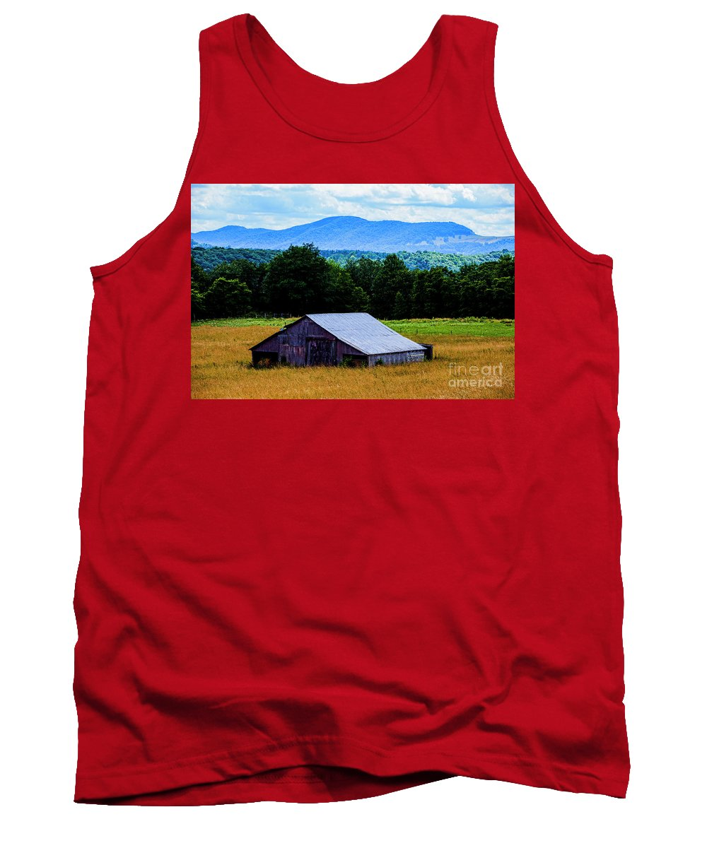 Barn Tank Top featuring the photograph Barn Below Trees And Mountains by Doug Berry