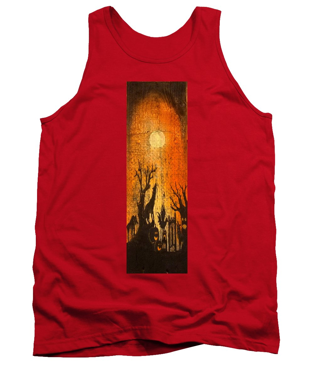 Rustic Tank Top featuring the painting Barnwood Howl by Beverly Restelle