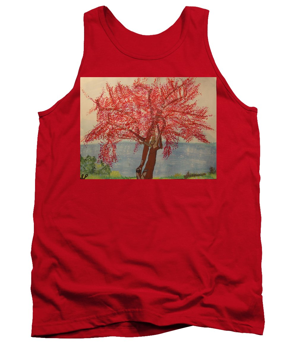 Cherry Tank Top featuring the painting Bask In Blooming Beauty by Sherri Pruitt