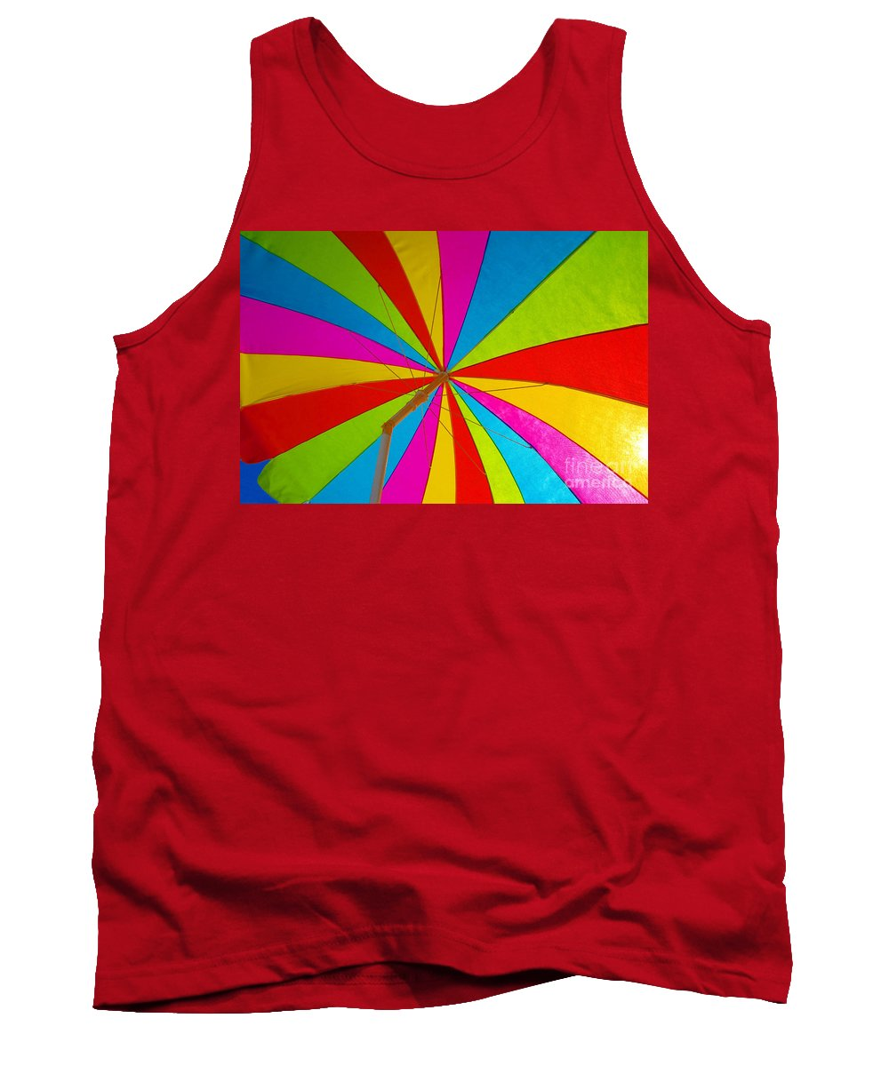 Beach Tank Top featuring the photograph Beach Umbrella by David Lee Thompson