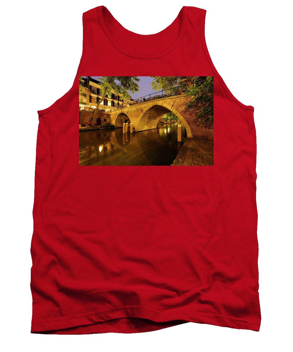 House Tank Top featuring the photograph Beautiful Bridge Weesbrug Over The Old Canal In Utrecht At Dusk 220 by Merijn Van der Vliet