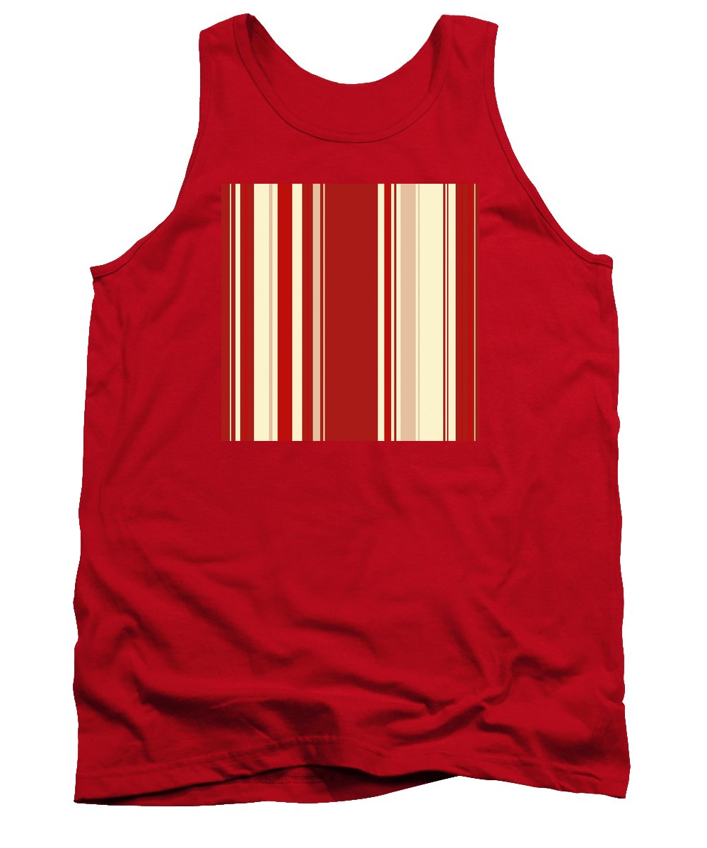 Modern Christmas Tank Top featuring the digital art Modern Christmas Stripe Pattern Series Red Currant, Cream, Blush by Tina Lavoie