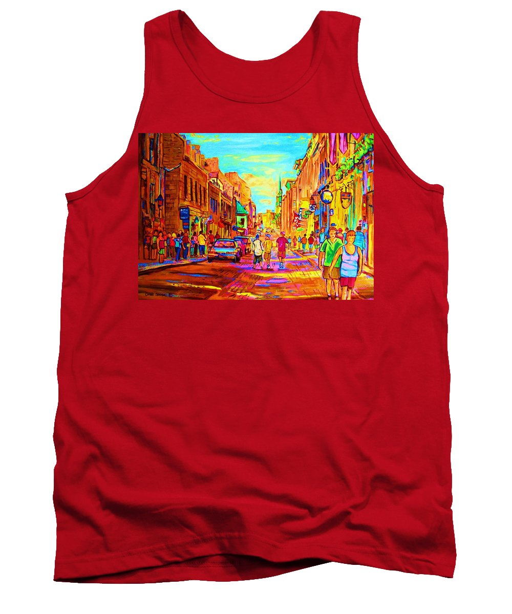 Old Montreal Tank Top featuring the painting Beautiful Day In The City by Carole Spandau